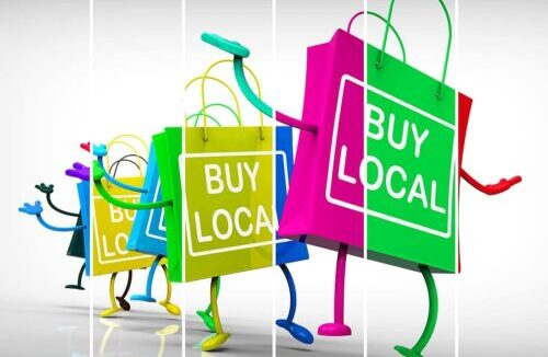 buy local, shop local, shopping bags